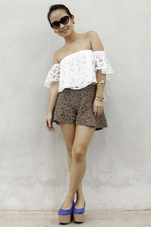 white SOMETHING BORROWED top - blue asos shoes - light brown Zara shorts