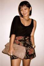 black Fashion House top - black Fashion House shorts - beige bcbg max azria purs