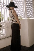 black vintage top - black diysewed by mum skirt - silver DIY shoulder piece acce