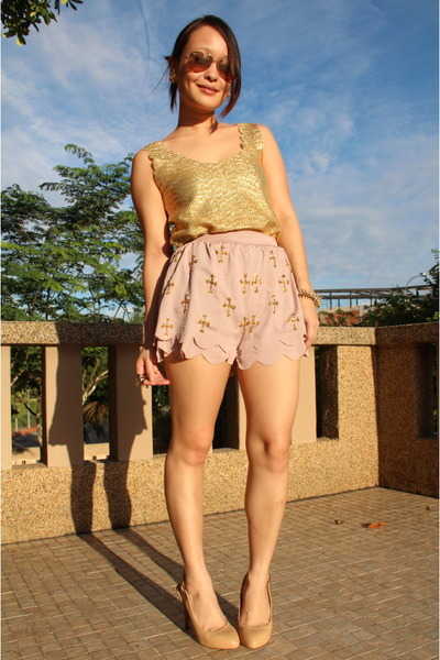 DIT sequin cross shorts - Club L top - BGBGirls heels