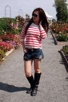 dark gray rouched Nyla boots - carrot orange knit hollister sweater
