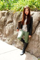 black faux leather Zara jacket - dark gray rouched boots Nyla boots
