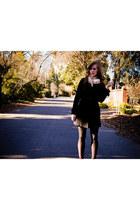 black Tulle coat - ivory Forever 21 scarf