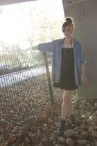 thrifted shirt - Target boots - Target dress