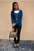 teal Forever 21 sweater - black Forever 21 jeans - camel Forever 21 shoes - gold