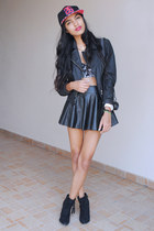 black Forever 21 boots - black Ardillasimetrica hat - coated Wet Seal jacket
