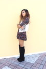 Black-forever-21-boots-brick-red-forever-21-dress