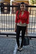 black Forever 21 jeans - black Prada bag - nude lace Forever 21 top