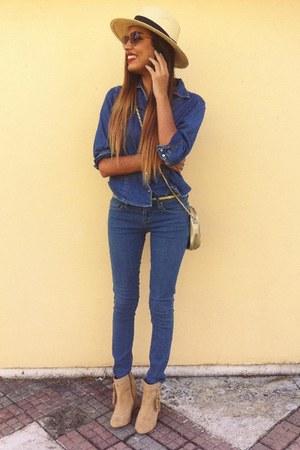 beige Forever 21 boots - blue Forever 21 jeans - beige thrifted vintage hat