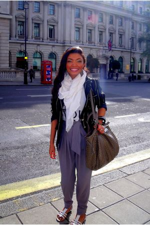 black Primark jacket - white scarf - silver Louis Charles pants - white amazing