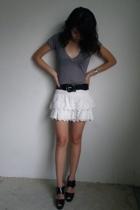 Urbanogcom t-shirt - thrifted belt - Mango skirt - forever 21 shoes