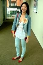 Topshop jeans - Topshop jacket - blouse - Topshop shoes - Hugo Boss accessories
