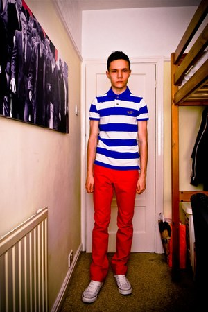 striped Hollister Polo Shirt top - red H&M pants - white Converse sneakers