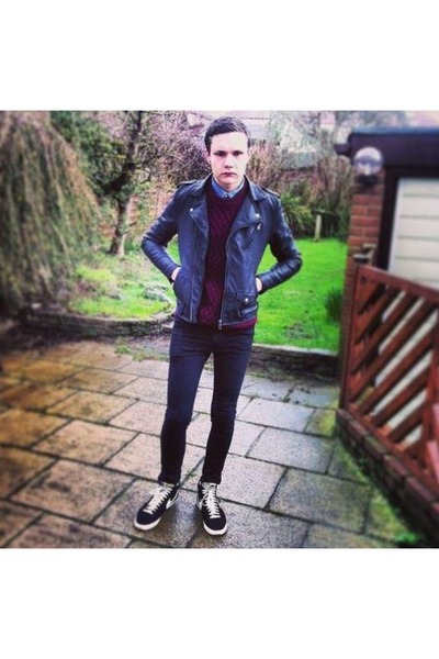 faux leather H&M jacket - skinny River Island jeans - River Island sweater