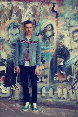 aztec denim Topman jacket - navy drain H&amp;M jeans - Topman t-shirt