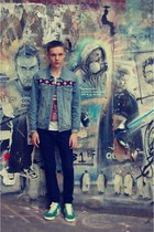 aztec denim Topman jacket - navy drain H&M jeans - Topman t-shirt