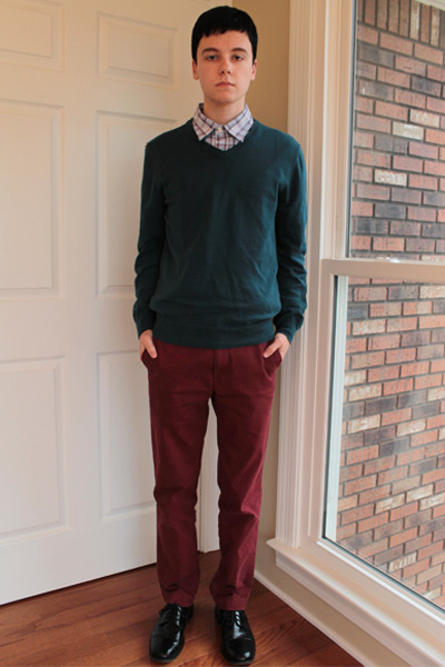 plaid Old Navy shirt - shoes - Old Navy sweater - banana republic pants