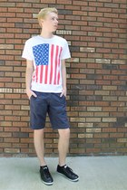 white American Apparel shirt - black Converse shoes - navy Gap shorts
