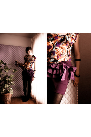 purple Urban Behaviour blouse - purple Agaci skirt - black Target tights