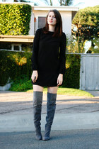heather gray Ebay boots - black asos dress
