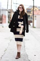 black Zara jacket - brown franco sarto boots - camel Stylenanda dress
