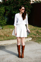 white MIKKAT MARKET skirt - brown Steve Madden boots - heather gray Target purse