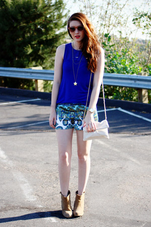 blue H&M shirt - camel asos boots - blue DIY shorts