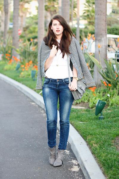 teal Zara jacket - blue Zara jeans - heather gray Target purse
