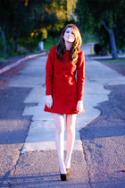 red felted wool Self Made dress - black Call it Spring shoes