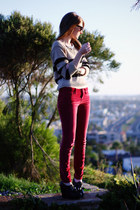 red BDG pants - Nasty Gal sweater - black Aldo wedges