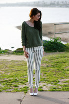 white Pleaser shoes - olive green Zara shirt - white Forever 21 pants