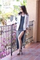 heather gray diy asos dress - white Forever 21 blazer - beige olsenboye heels