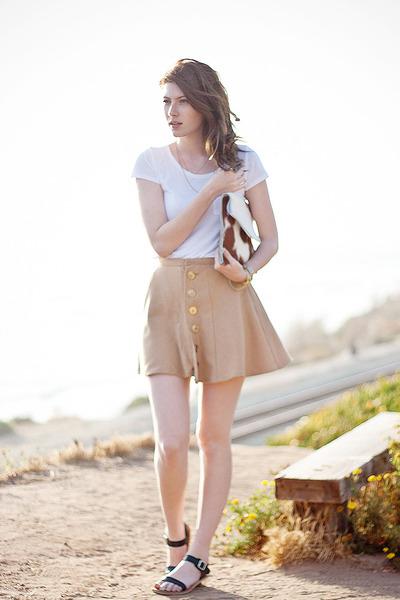 camel DIY skirt - black Stylenanda shoes - white H&M shirt - camel DIY purse