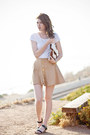 Black-stylenanda-shoes-white-h-m-shirt-camel-diy-purse-camel-diy-skirt