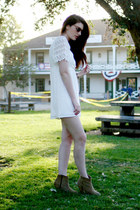 beige asos boots - white stone cold fox x urban outfitters dress