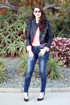 black Nasty Gal jacket - blue Zara jeans - bubble gum H&M sweater