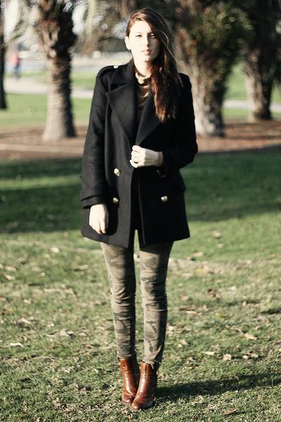 black Zara jacket - brown franco sarto boots - olive green Zara pants