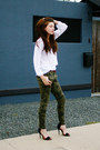black Zara shoes - dark khaki Zara pants - white CottonOn blouse
