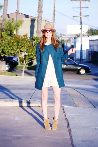 teal blue Zara coat - beige ankle asos boots - cream Topshop dress
