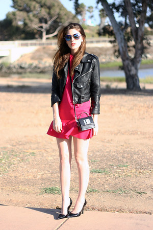 hot pink DIY dress - black Nasty Gal jacket - black Luxirare purse