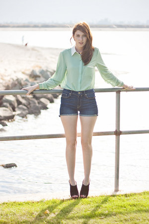 lime green romwe blouse - blue kasil shorts