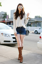 tawny Steve Madden boots - eggshell free people sweater