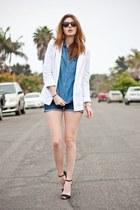 black Zara heels - white Forever 21 blazer - blue Urban Outfitters shirt