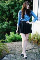 black Zara shoes - blue BDG shirt - black cotton on skirt