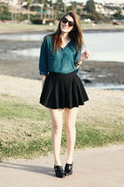 black Chicwish skirt - brown Chicwish sunglasses - teal Forever 21 blouse