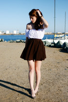brown DIY skirt - white DIY top