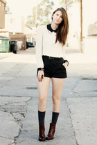 brown from ross franco sarto boots - gray Forever 21 shorts