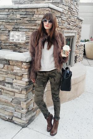 brown JC Penney jacket - brown franco sarto boots - black romwe purse