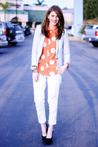 romwe blouse - Zara blazer - Call it Spring heels