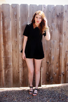 black romwe romper - black Stylenada sandals